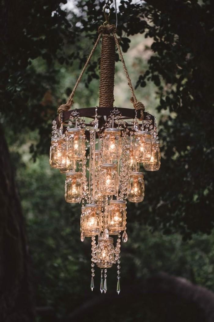 gartendeko selbstgemacht leuchter für die gartenparty basteln