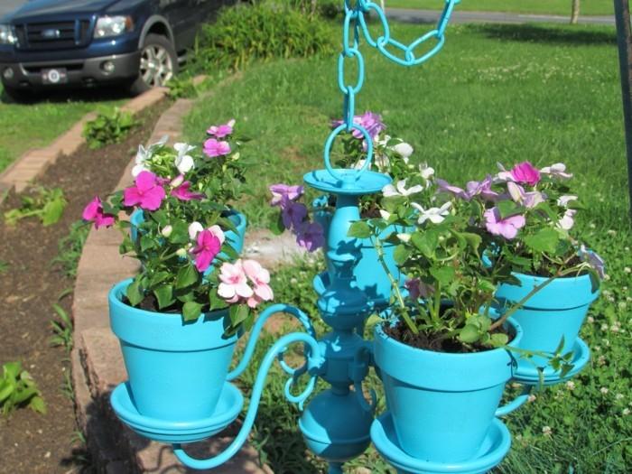 gartendeko selbstgemacht leuchter in einen herrlichen pflanzenbehälter umwandeln