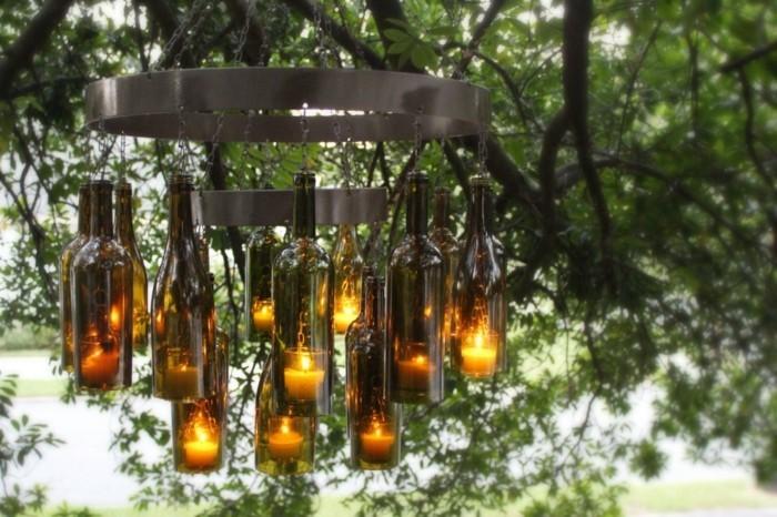 gartendeko selbstgemacht schöner leuchter selbstgemacht aus flaschen