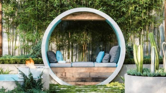 gartengestaltung moderner runder sitzplatz