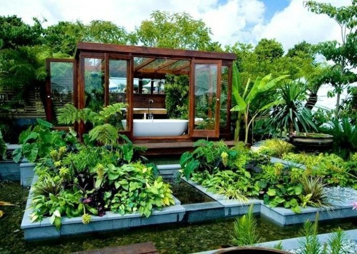 gartenhaus grüne pflanzen