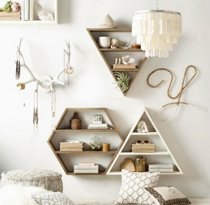 geometrische wandregale selber bauen aus holzbrettern