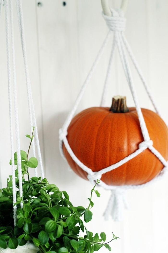 hängeampel aus makramee für pflanzen und kürbisse