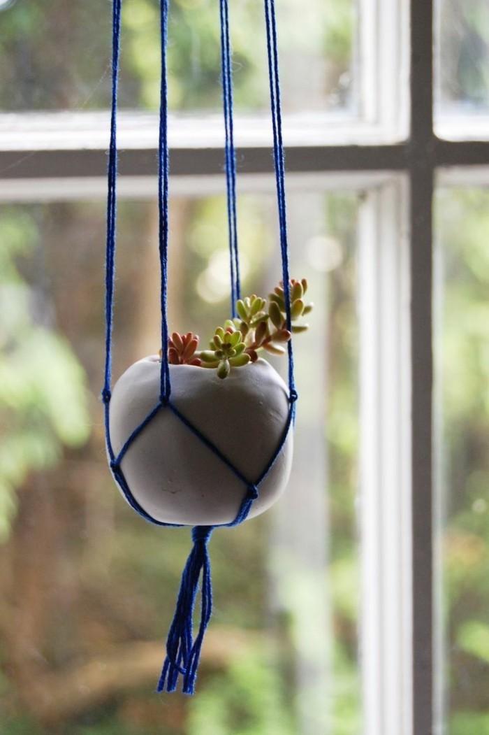 hängeampel aus makramee in blau basteln