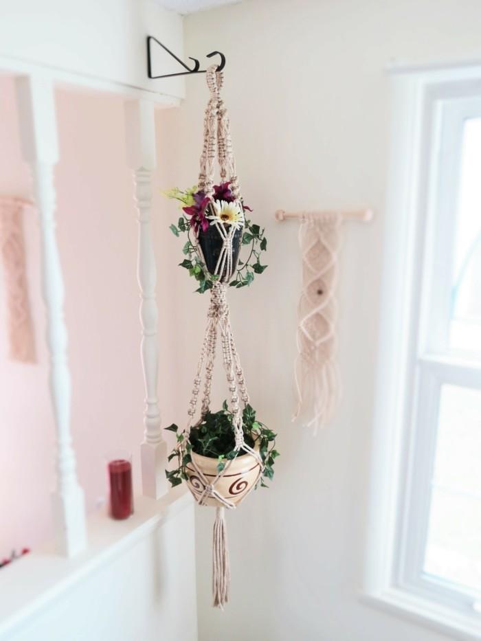 hängeampel aus makramee schöne deko im boho stil
