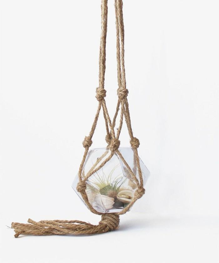 hängeampel basteln idee für ein hängendes terrarium