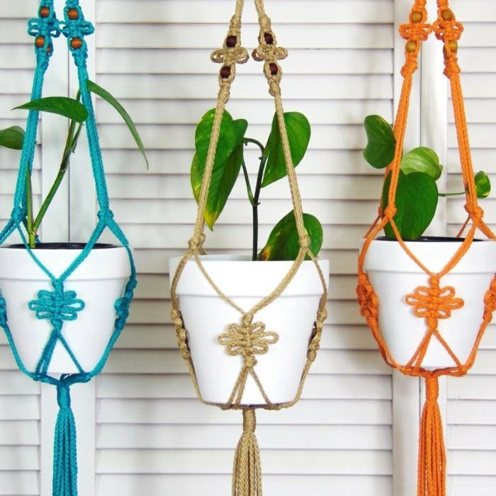 hängeampel makramee in verschiedenen farben für balkon und garten