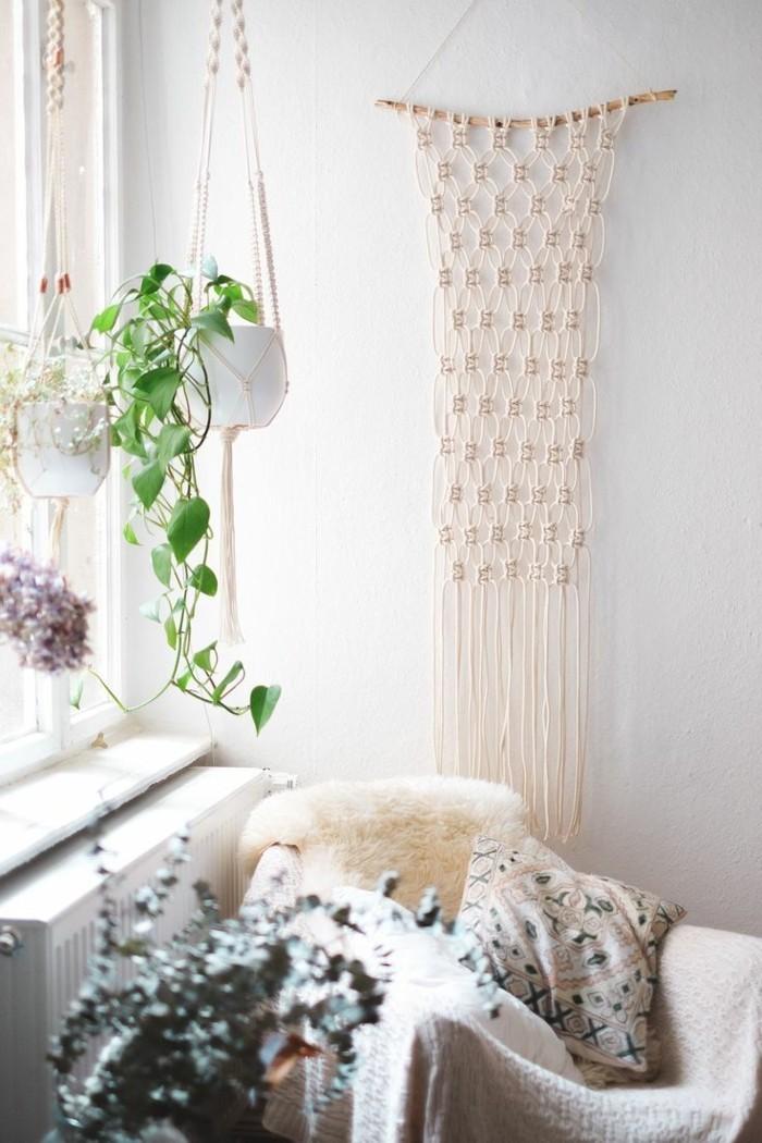 hängeampel makramee schöne dekoideen für das schlafzimmer