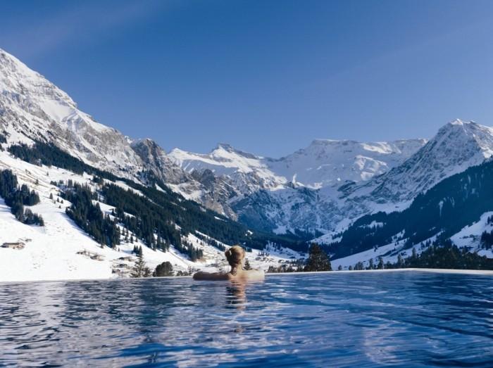 infinity pool Cambrian Adelboden Hotel in der schweiz