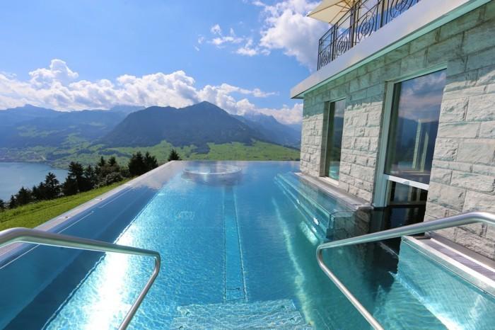 infinity pool in der schweiz Villa Honegg