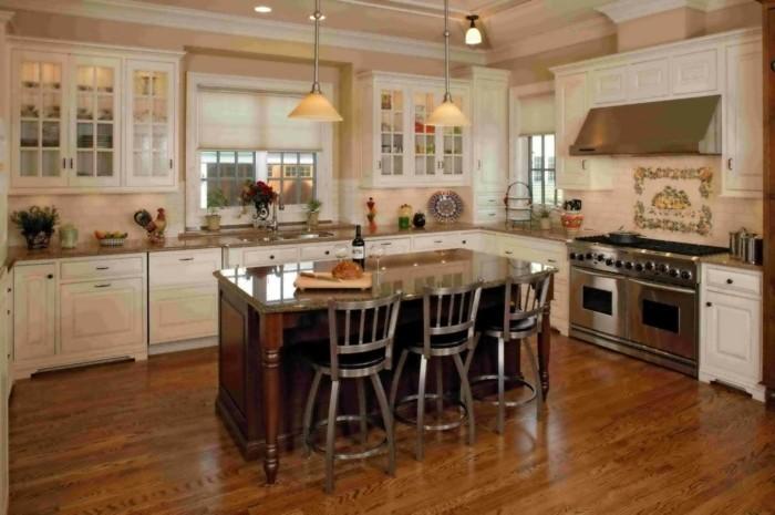 küche- -form mit kücheninsel im landhausstil