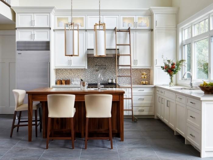 küche l-form moderne küche mit grauen bodenfliesen und brauner kücheninsel
