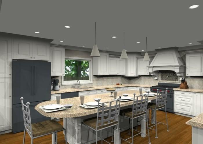küche l-form weiße küchenschränke und graue akzente