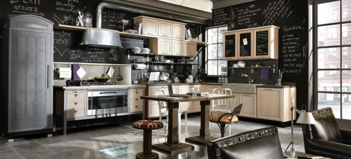 küchenfarben cooler industrieller look mit schwarzen wänden