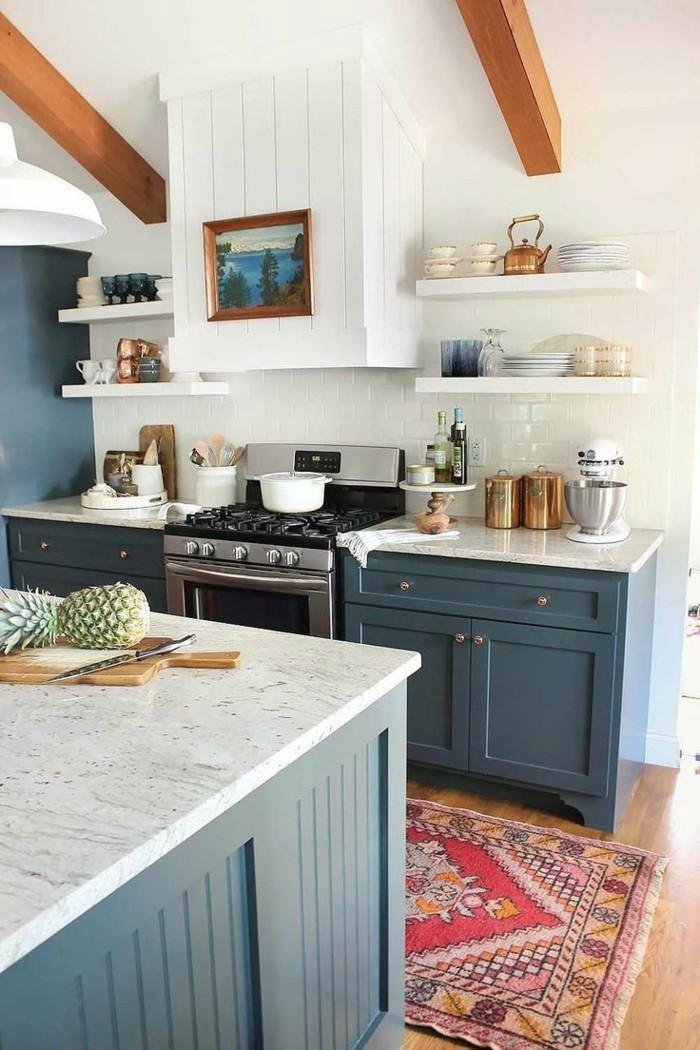 küchenfarben dunkle blautöne sehen herrlich in kombination mit weiß aus