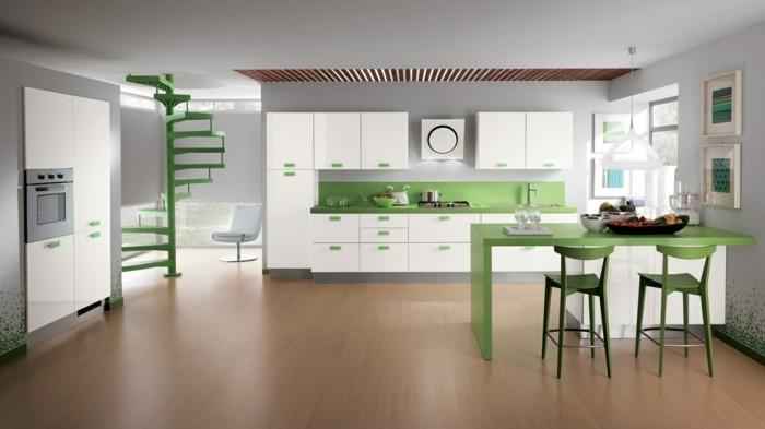 küchenfarben grüne akzente werten den raum auf