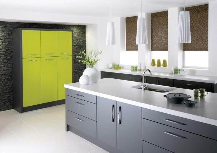 küchenfarben grau durch grün aufpeppen