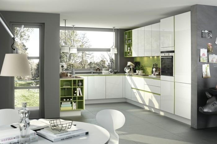 küchenfarben grau und grün kombinieren