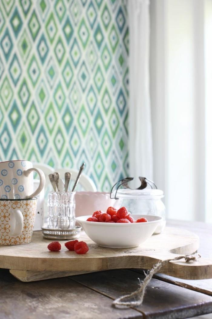 küchentapete grünes tapetenmuster mit geometrischen figuren