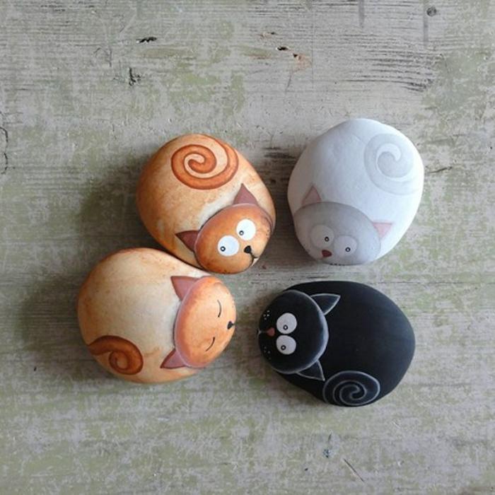kleine katzen steine bemalen ideen