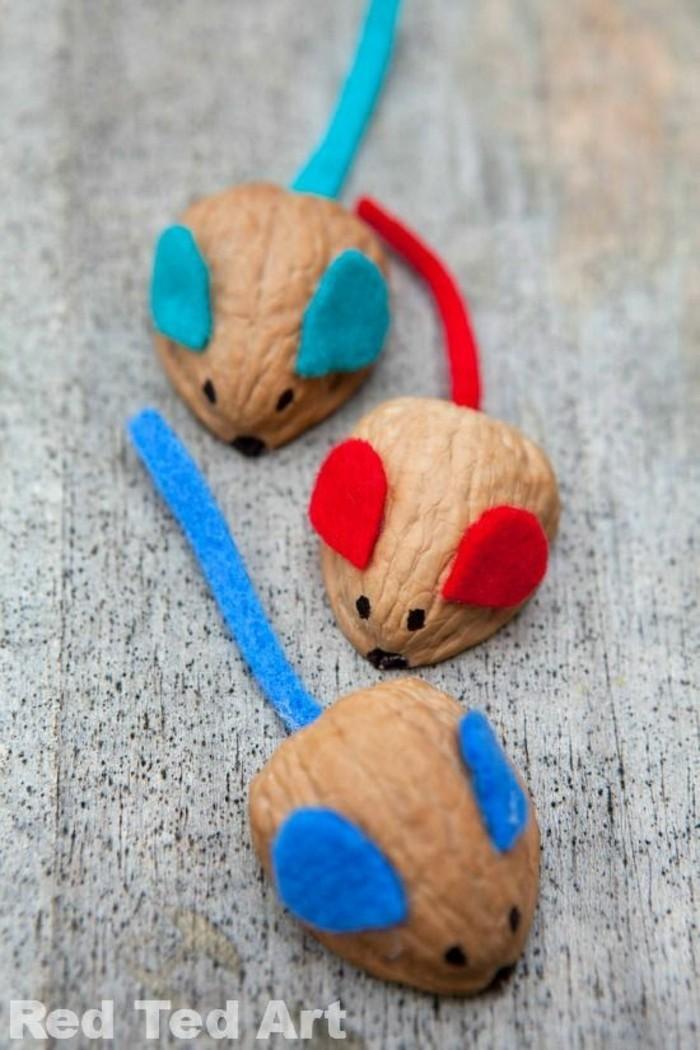 kleine mäuse aus walnüssen schalen basteln mit kindern