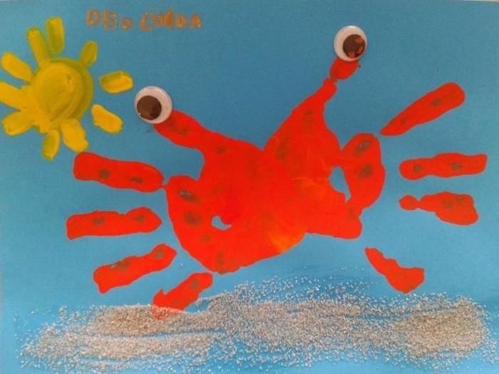 krebs malen mit kindern handabdruck farben
