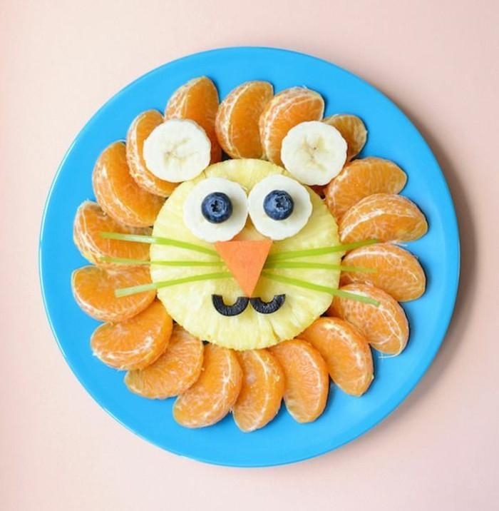 löwe aus früchten fingerfood ideen kinderparty