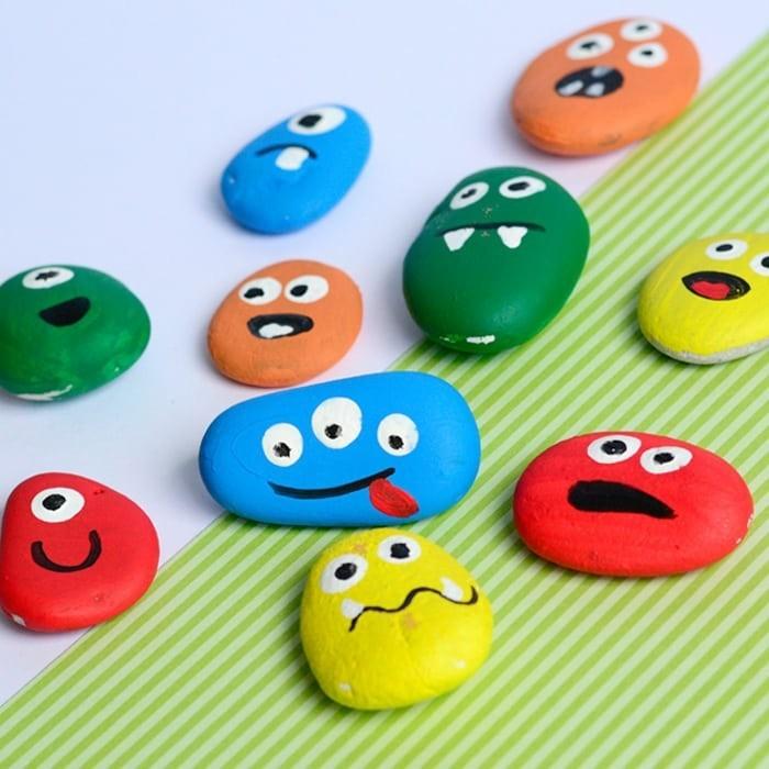 malen mit kindern ideen mit steinen bunte farben