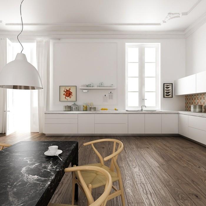 marmortisch holzboden elegante weiße möbel