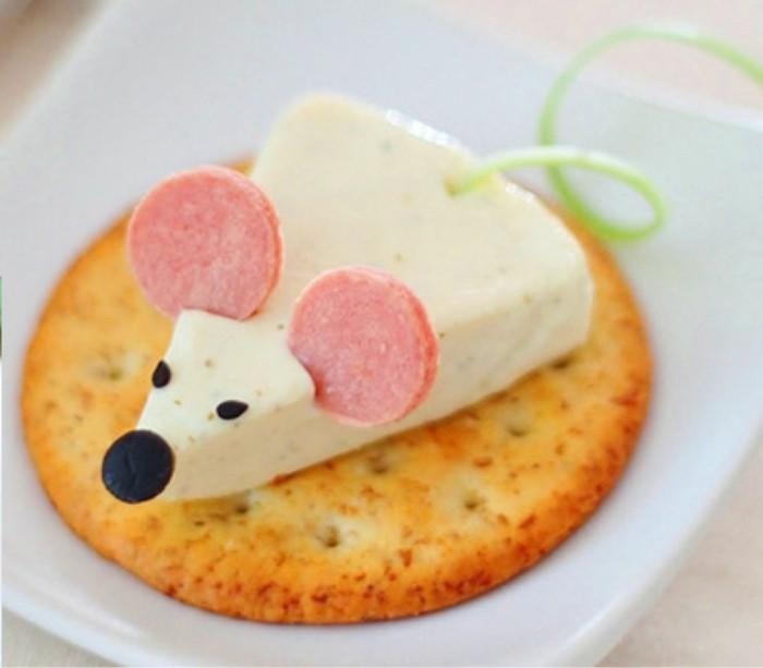 maus fingerfood ideen salzig aus käse cracker