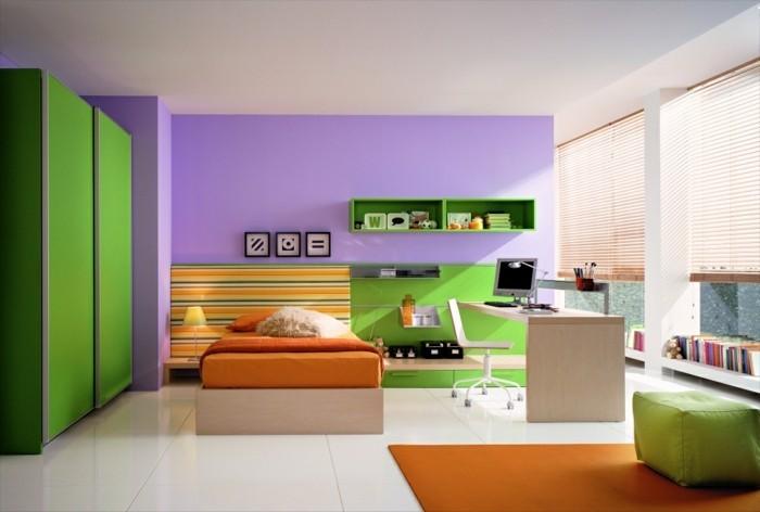 mintgrün und lila braun