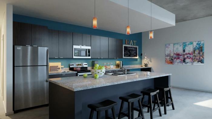 moderne küchen dunkelblau grau und schwarz erfolgreich kombinieren