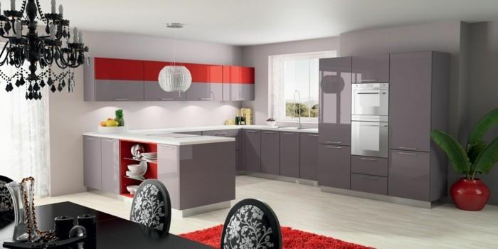moderne küchen einrichten helles design mit krassen roten akzenten