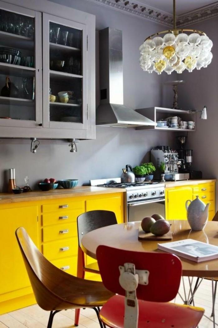 moderne küchen gelb grau und rot kombinieren