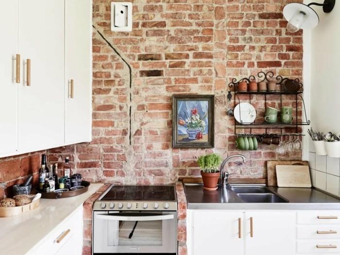 moderne küchen gemütliche küche in weiß mit ziegelwand