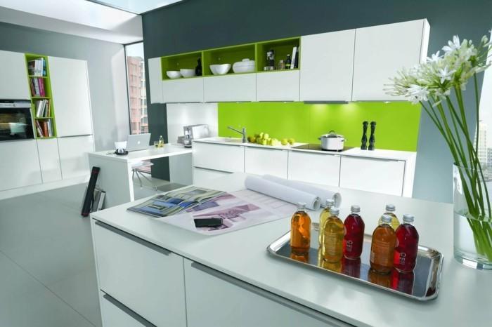 moderne küchen grün und grau kombinieren