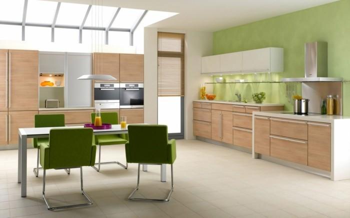 moderne küchen helles küchendesign mit grünen akzenten