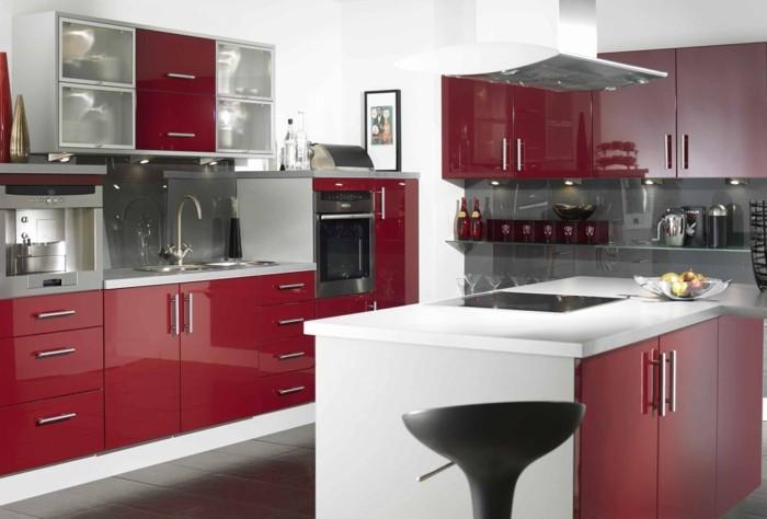 moderne küchen kleine küche in weiß rot einrichten