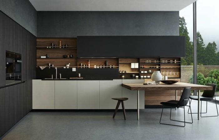 moderne küchen küchendesign in schwarz durch hellere aktente aufgepeppt