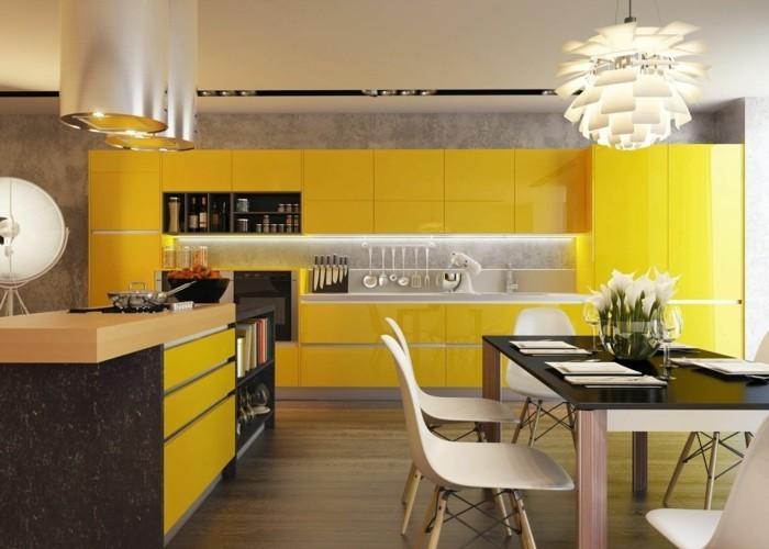 moderne küchen krasse farben finden platz in der küche