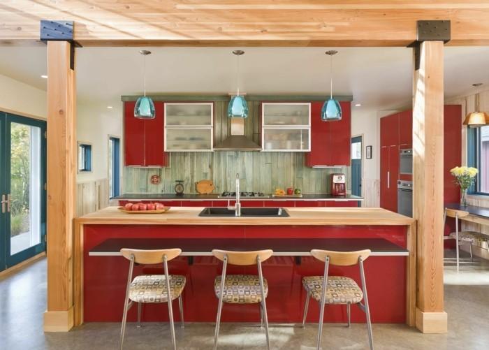 moderne küchen rot und holz kombinieren