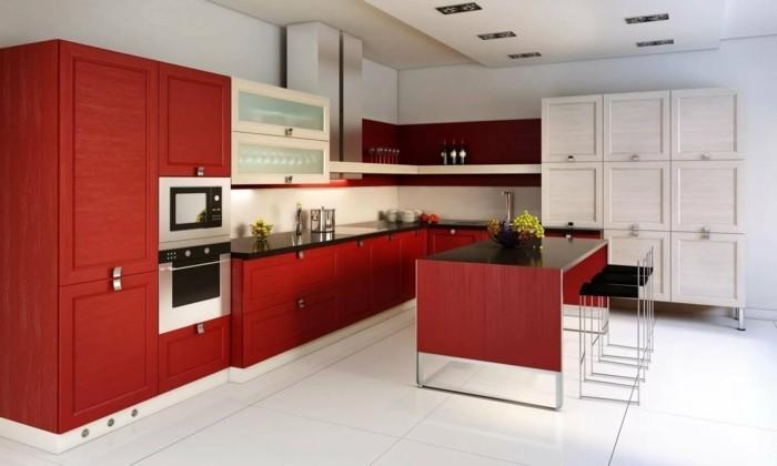 moderne küchen rote küchenschränke und weiße bodenfliesen