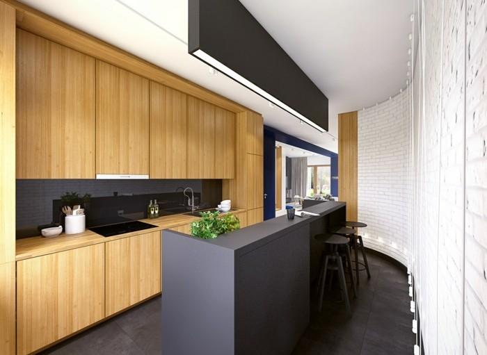 moderne küchen schwarze kücheninsel holzelemente
