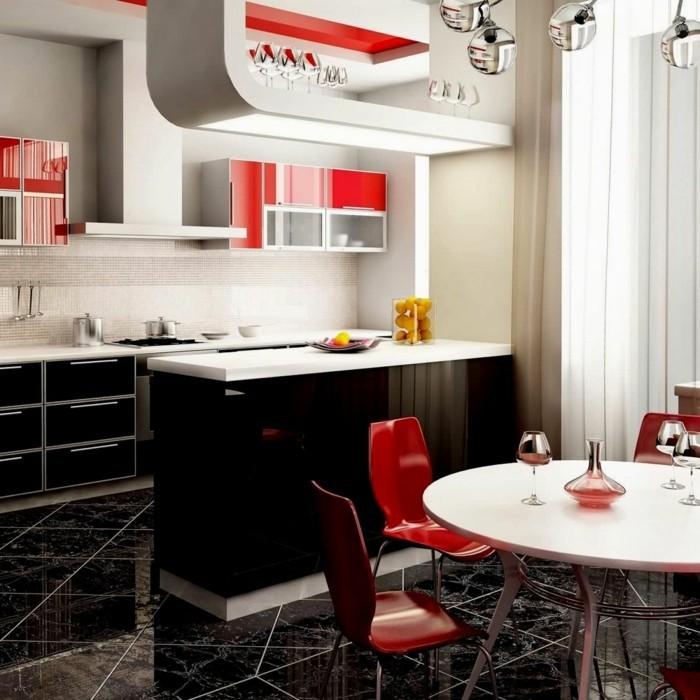 moderne küchen weiß schwarz und rot kombinieren