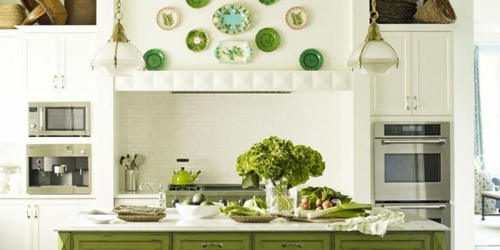 moderne küchen weiß und grün kombinieren