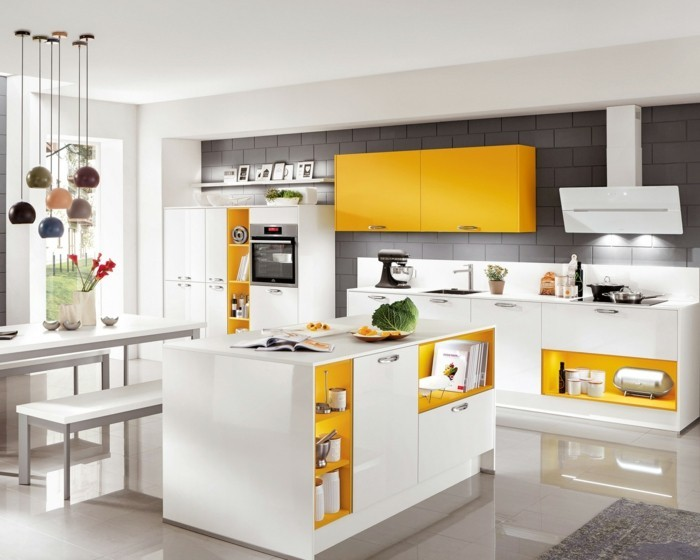 moderne küchen weiße küche mit gelben akzenten