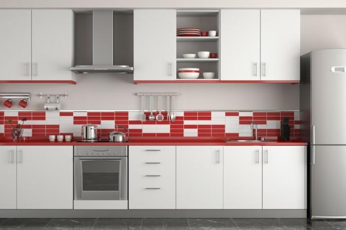 moderne küchen helle küche mit roten akzenten