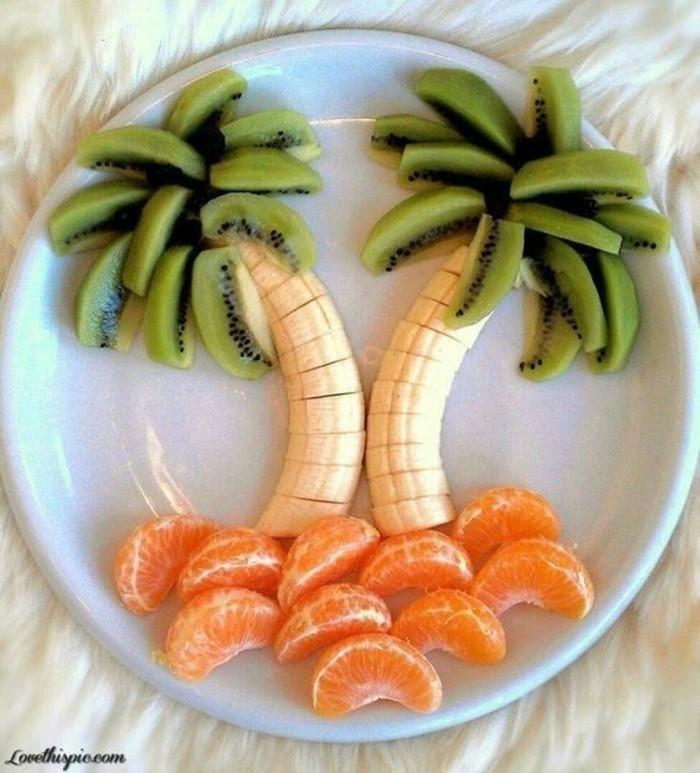 obst fingerfood palmen mandarinen kiwis bananen