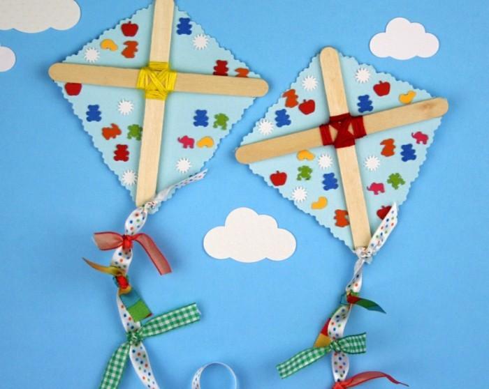 papierdrachen basteln mit kindern eisstiele stoff karton