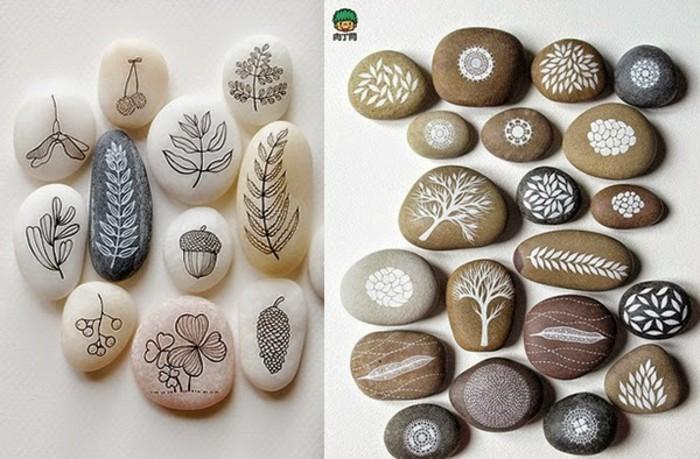 pflanzen blätter auf steine bemalen
